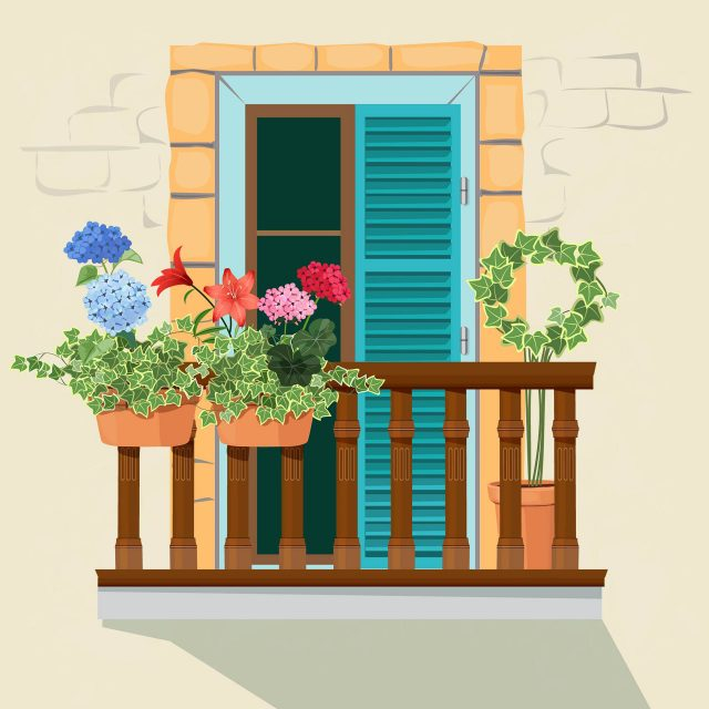 Balcony flowers. House facade window and decorative plants pots grow windowsill funny spring sunlight home appartment vector background. Illustration of facade balcony for home
